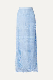 Asher grosgrain-trimmed guipure lace maxi skirt