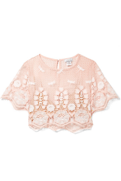 Miguelina LULA CROPPED EMBROIDERED CROCHETED COTTON TOP