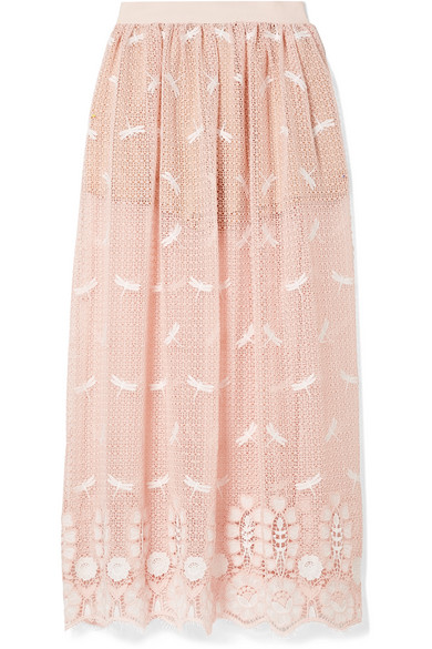 Miguelina PARIS EMBROIDERED CROCHETED COTTON MAXI SKIRT