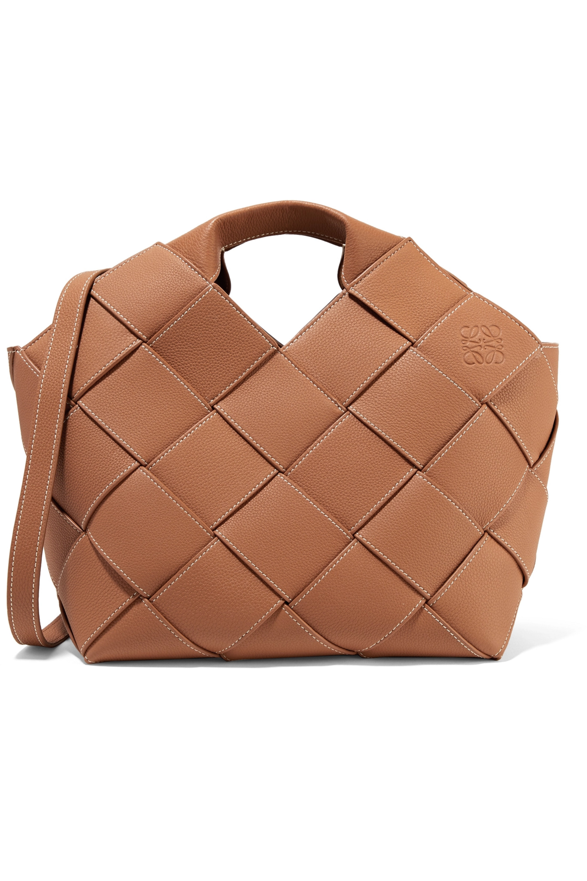 Brown Woven Textured-leather Tote | Loewe