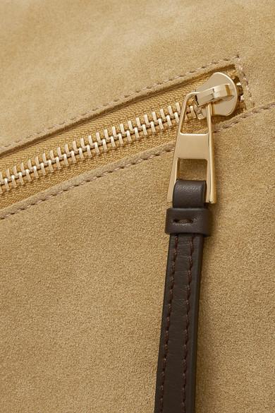 Loewe Puzzle Schultertasche aus Veloursleder und Leder in Colour-Block-Optik