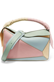Puzzle color-block leather shoulder bag