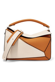 Puzzle two-tone textured-leather shoulder bag