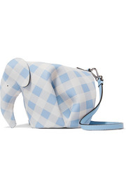 Elephant gingham textured-leather shoulder bag