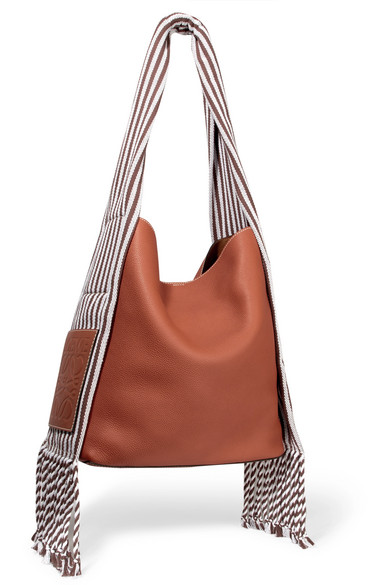 Scarf Striped Cotton-Trimmed Textured-Leather Shoulder Bag in Tan