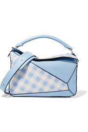Loewe Puzzle gingham-paneled leather shoulder bag
