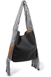 Scarf striped cotton-trimmed textured-leather shoulder bag