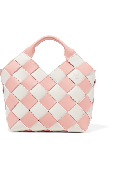 Two-tone Woven Leather Tote - Blue Loewe SWdOpt