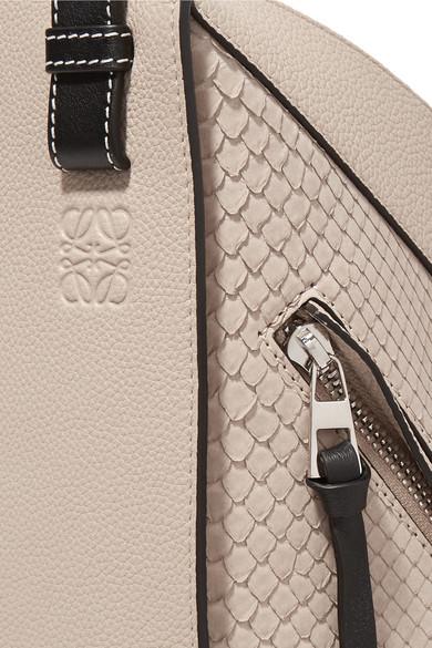 Loewe Hammock kleine Schultertasche aus Pythonleder und strukturiertem Leder