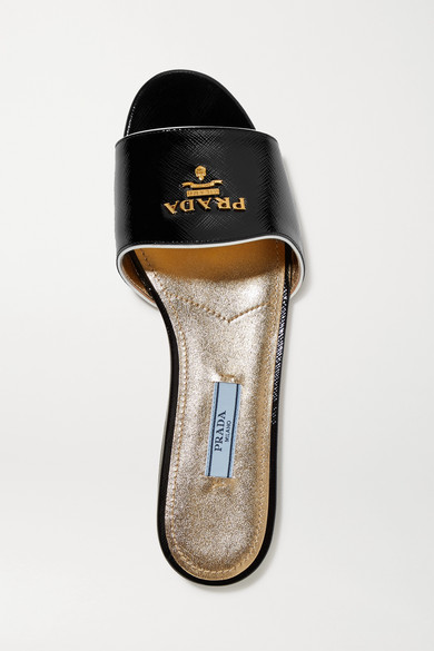 Prada Mules Made Of Textured Patent Leather With Logo