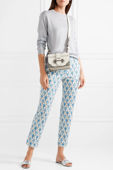 Prada Pantoletten aus strukturiertem Metallic-Leder mit Logoverzierung Billig Verkauf Geschäft Original- X0mOAN