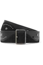 Studded suede and leather waist belt