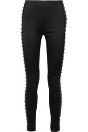 Embellished stretch-satin leggings