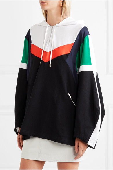 Oversized Patchwork Cotton-jersey, Pique And Silk-satin Hooded Top - Black Koché