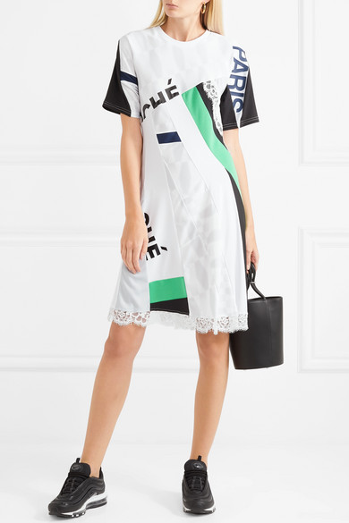 Lace-trimmed Printed Jersey Dress - White Koch Ft8ZbW5