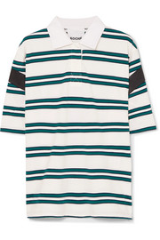 Satin-trimmed striped stretch-cotton polo shirt