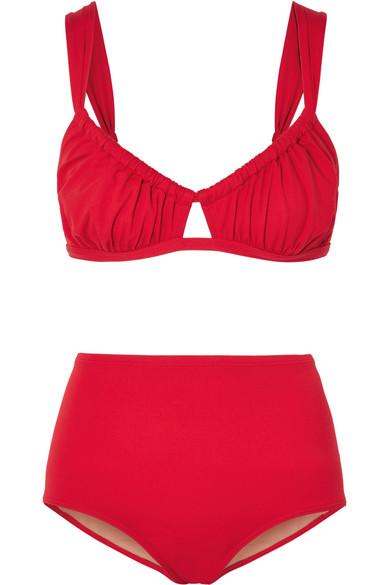 THREE GRACES LONDON Bridget Ruched Bikini in Red