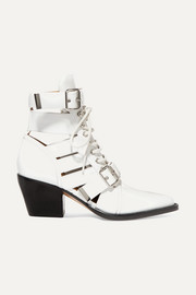 Rylee cutout glossed-leather ankle boots