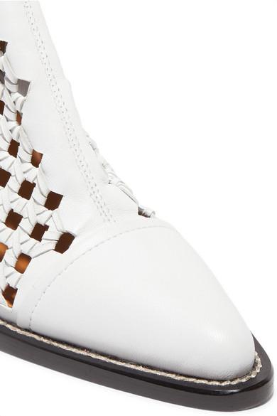 Chloé Rylee kniehohe Lederstiefel mit Cut-outs und Flechtdetails