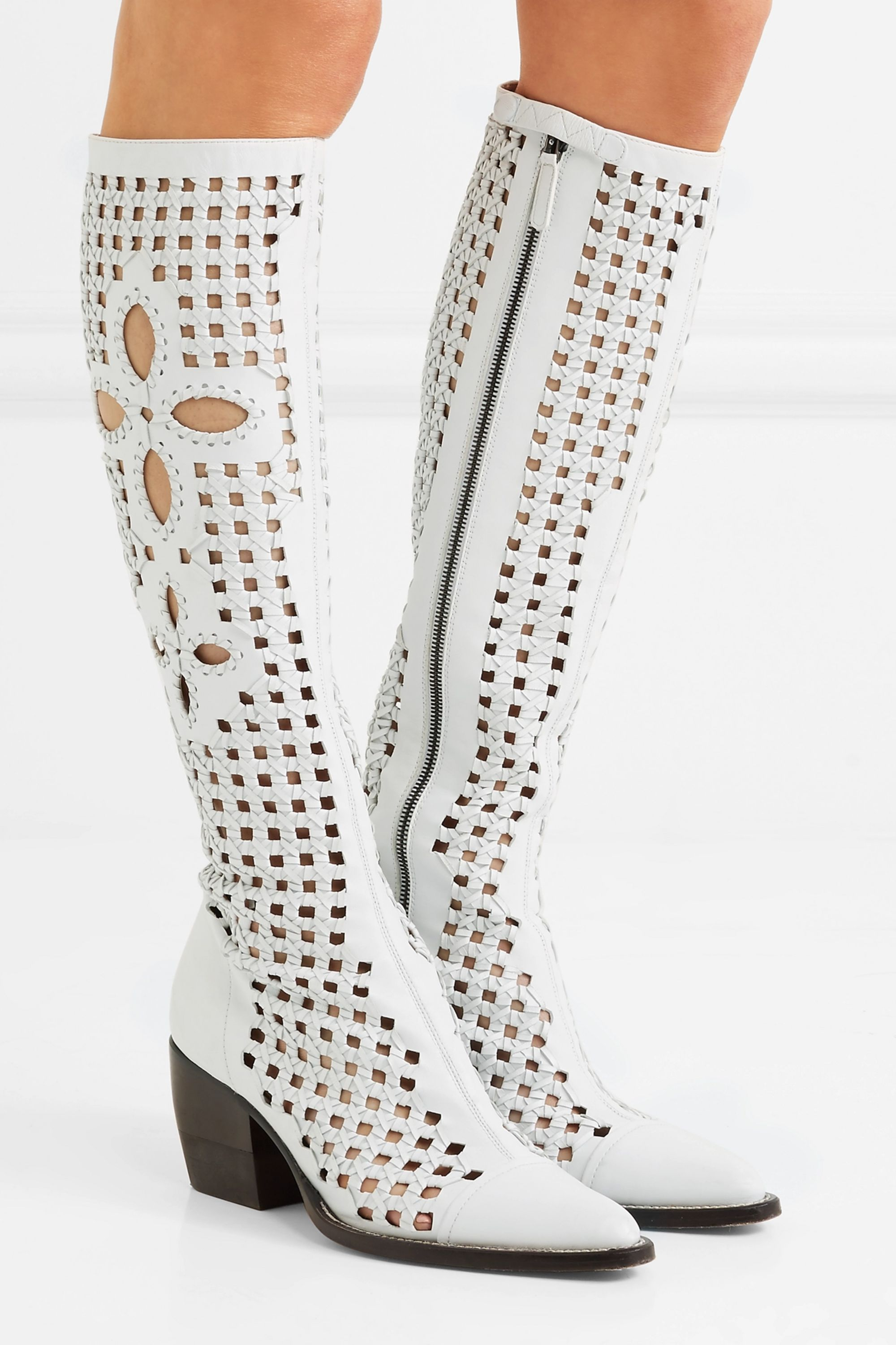 Chloé Rylee cutout woven leather knee boots