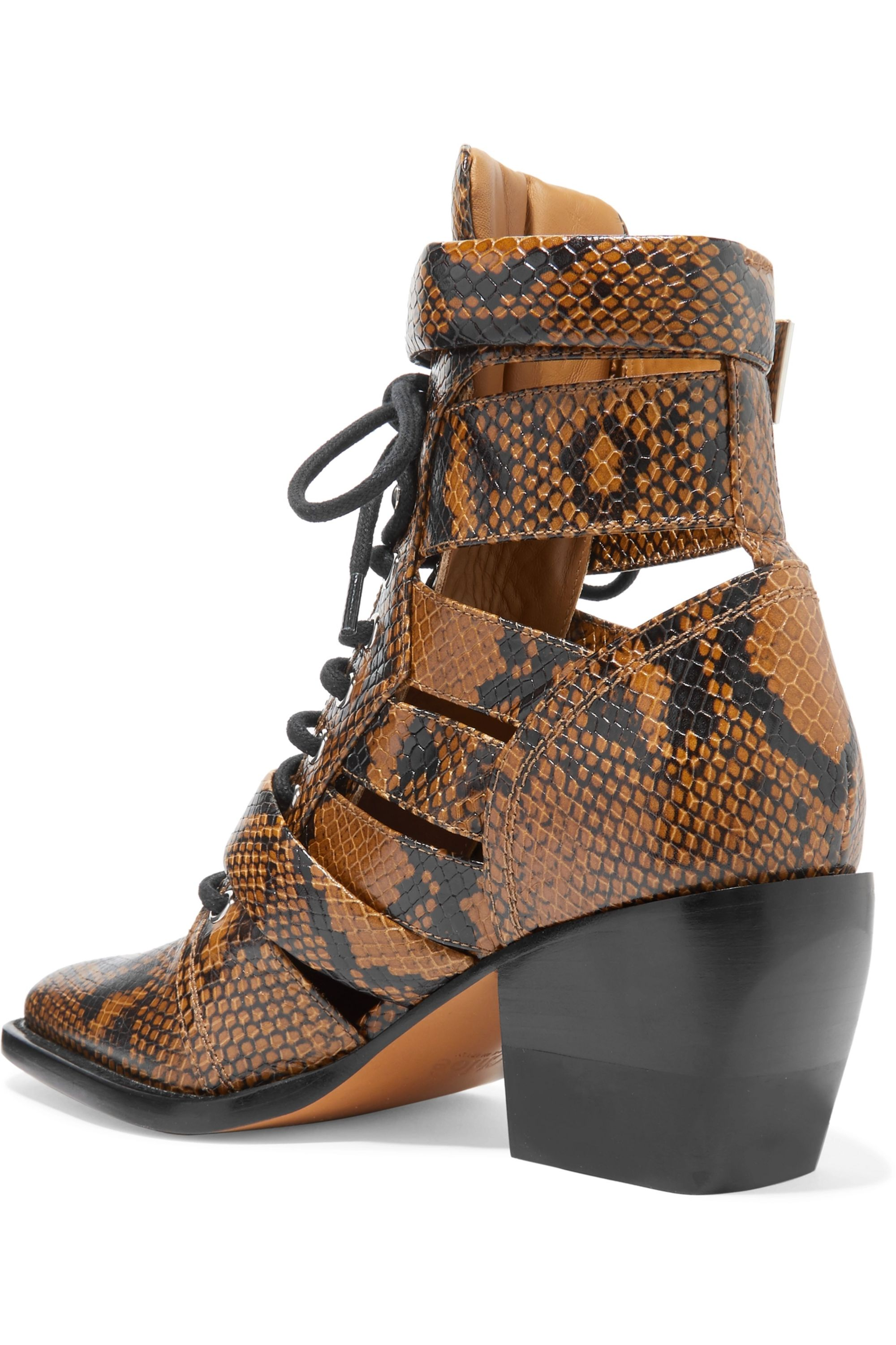 Chloé Rylee cutout python-effect leather ankle boots
