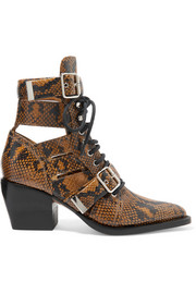 Rylee cutout python-effect leather ankle boots