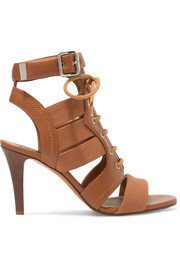 Rylee cutout leather and canvas sandals