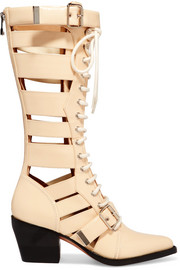 Rylee cutout glossed-leather boots