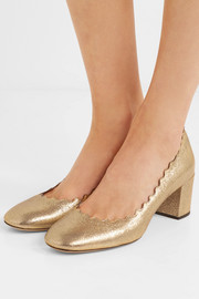 Chloé Lauren scalloped cracked-leather pumps