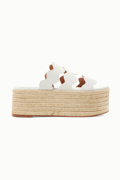 Lauren Scalloped Suede And Textured-Leather Espadrille Platform Slides in White
