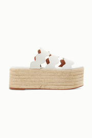 Lauren scalloped suede and textured-leather espadrille platform slides