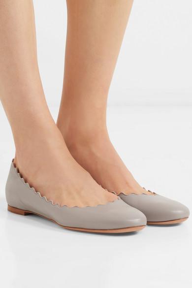 374551fdf Chloé | Lauren scalloped leather ballet flats | NET-A-PORTER.COM