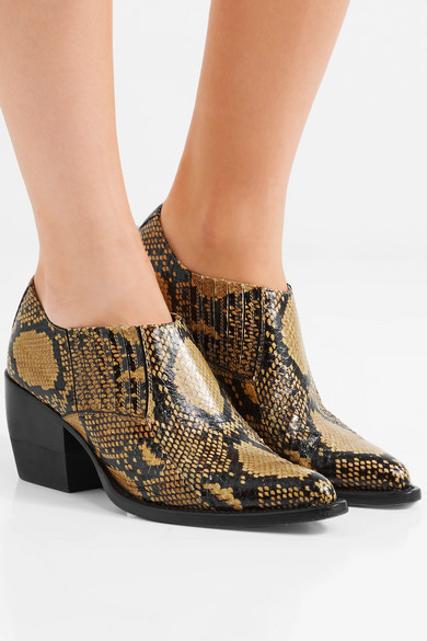 Chloé Rylee Ankle Boots In Leather With Snake Effect