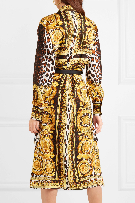 Versace Printed silk-twill midi dress