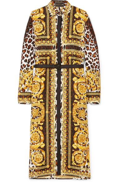 Versace Bedrucktes Midikleid aus Seiden-Twill