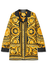 Versace Printed silk satin-twill shirt