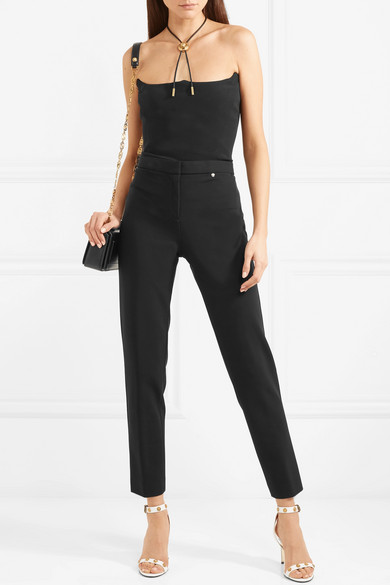 Silk-crepe And Mesh Bodysuit - Black Versace Cheap Cheap Online Free Shipping Largest Supplier Real Free Shipping Pre Order BScOzuI