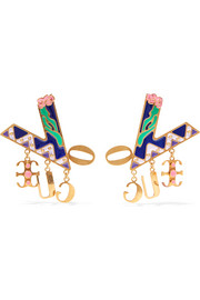 Versace Gold-tone enamel earrings
