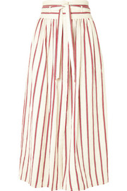 Ieba striped cotton-gauze midi skirt