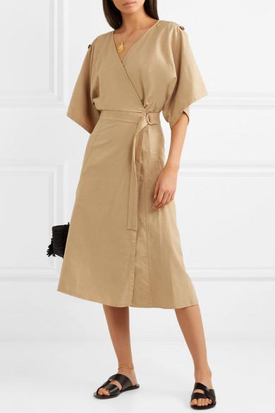Vanessa Bruno Iron Wickelkleid aus einer Mischung aus Baumwolle, Leinen und Tencel®