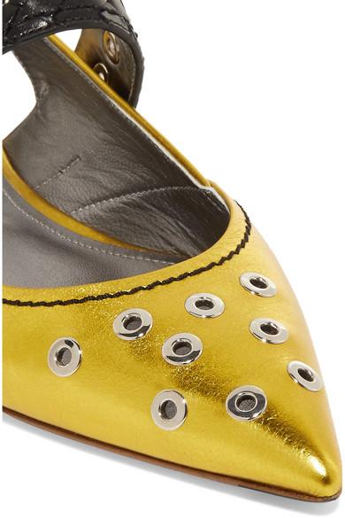 Billig Beste Preise Geschäft Bottega Veneta Flache verzierte Lederschuhe mit Cut-outs in Metallic-Optik Rabatt Geniue Händler vb0MtS5q