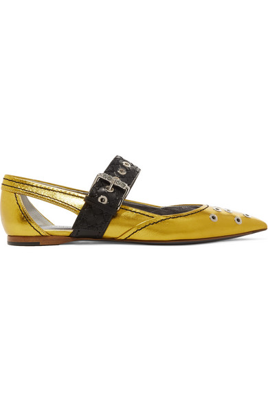 Cutout Embellished Metallic Leather Flats, Gold