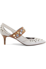 Bottega Veneta Cutout crystal-embellished suede and leather pumps