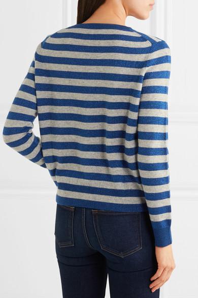 Allude Gestreifter Pullover aus einer Woll-Kaschmirmischung in Metallic-Optik