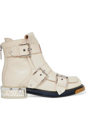 Alexander McQueen Embellished patent-leather ankle boots
