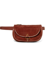 Felix Banane leather-trimmed suede belt bag