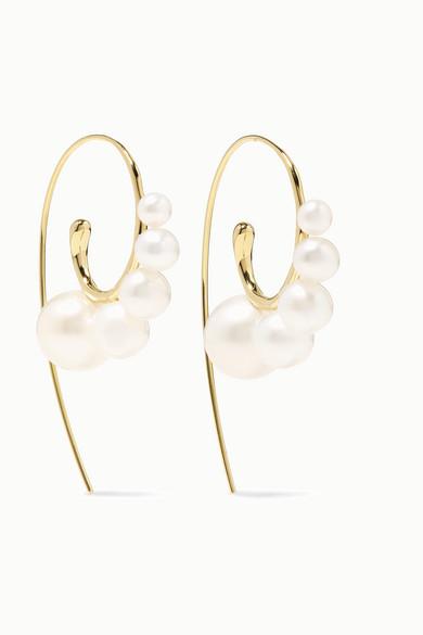 18K Yellow Gold Nova Graduated Cultured Freshwater Pearl Threader Earrings