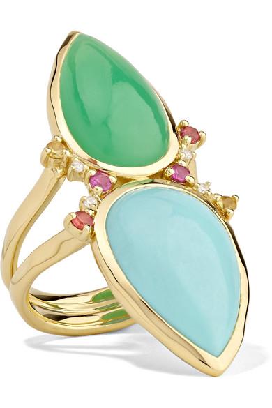 Prisma Dots Double-Stone Ring In Portofino, Size 7 in Gold