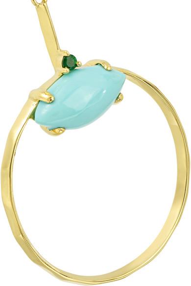 Ippolita Marquise Baby 18-karat Gold Turquoise And Tsavorite Earrings T6EGHHvZf