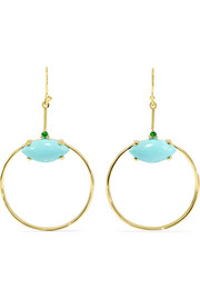 Ippolita Marquise Baby 18-karat gold turquoise and tsavorite earrings